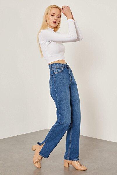 Arma Life Kadın Koyu Mavi Paçası Yırtmaçlı Mom Pantolon