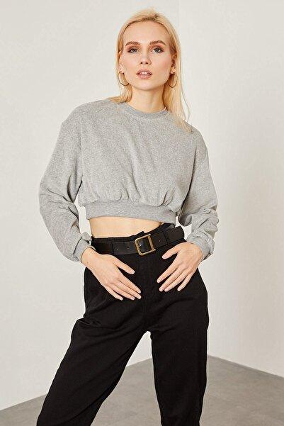 Arma Life Kadın Gri Kadife Crop Sweatshirt