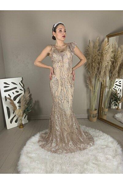 seri creation Kadın Altın Glitter Tek Omuz Fırfır Detaylı Balık Model Abiye Elbise