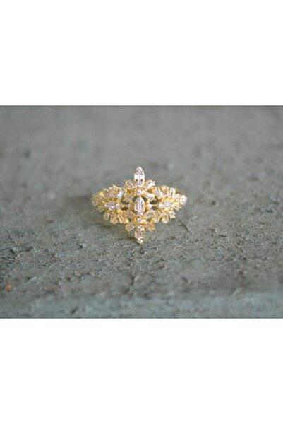 Kadın 925 Ayar Gümüş Baget Zirkon Taş Altın Kaplama Yüzük
