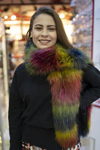 F E DENİZYILDIZI Kadın Renkli Suni Kürk Atkı