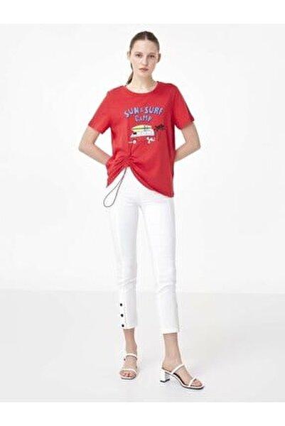 Kadın Kırmızı Slogan Baskılı Tshirt TS1200070156034