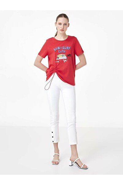 Twist Kadın Kırmızı Slogan Baskılı Tshirt TS1200070156034