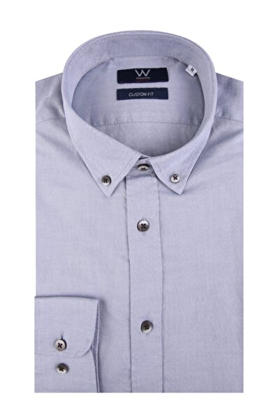 W Collection Erkek Gri Oxford Gömlek