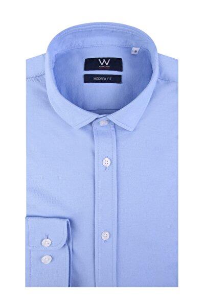 W Collection Erkek Mavi Örme Gömlek