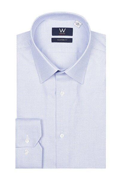 W Collection Erkek Mavi Beyaz Gömlek