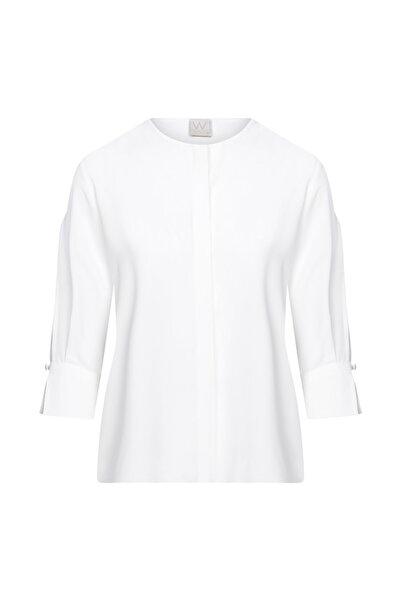W Collection Kadın Ekru Kolları Yırtmaçlı Bluz