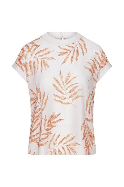 W Collection Kadın Turuncu Kısa Kollu Yaprak Printli Bluz