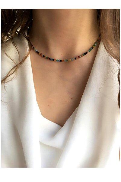Serpil Jewellery Kadın 925 Ayar Gümüş Patentli Ince Renkli Akik Doğaltaş Kolye 2mm