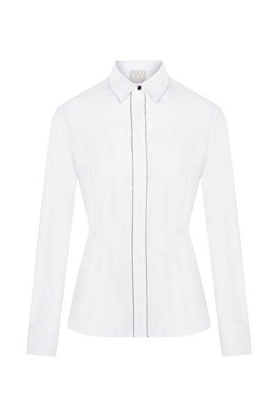 W Collection Kadın Beyaz Zincir Detaylı Poplin Gömlek