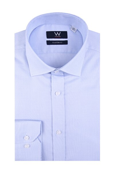 W Collection Erkek Mavi Klasik Easy Iron Gömlek