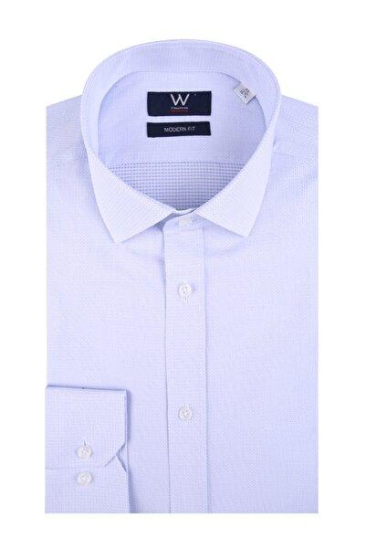 W Collection Erkek Mavi Bordo Klasik Easy Iron Gömlek