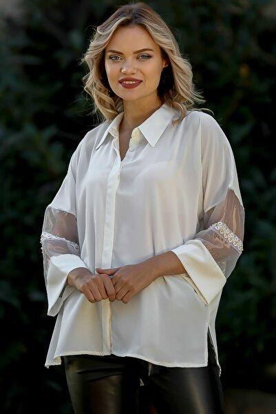 Chiccy Kadın Beyaz Kolları Organze Ve İnci Detaylı Oversize Gömlek M10010400GM99470