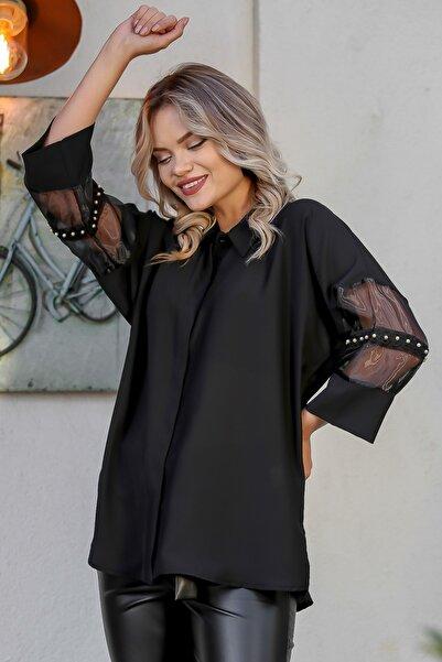Chiccy Kadın Siyah Kolları Organze Ve İnci Detaylı Oversize Gömlek M10010400GM99470