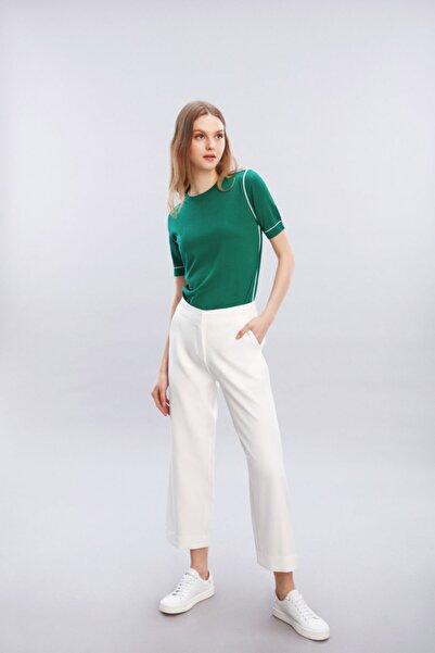 W Collection Kadın Yeşil Beyaz Biyeli Kısa Kollu Triko Bluz