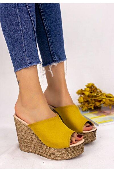 Pi Park Kadın Sarı Süet Dolgu Topuk Terlik
