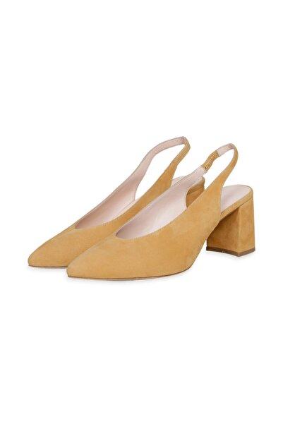 W Collection Kadın Sarı  Deri Kısa Topuklu Süet Ayakkabı