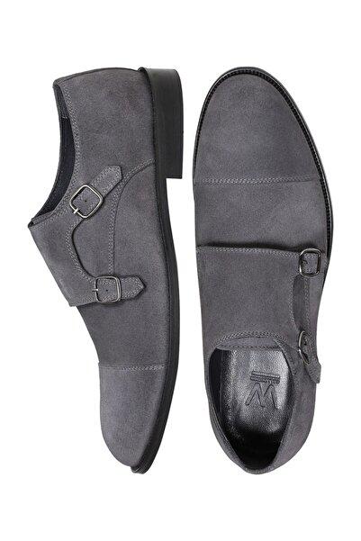 W Collection Erkek Gri Deri Çift Tokalı Süet Ayakkabı
