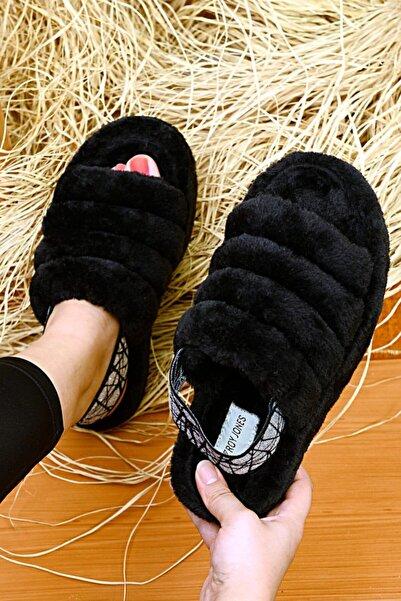ROYJONES Kadın Yumuşak Tabanlı Arkadan Lastikli Pofuduk Kışlık Tüylü Puf Peluş Günlük Ev Ayakkabısı