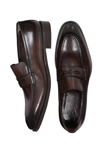 W Collection Erkek Kahverengi Deri Klasik Loafer Ayakkabı