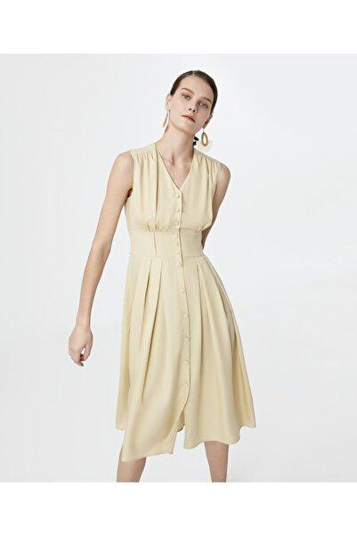 İpekyol Kadın Bej Bel Vurgulu Pilili Elbise IS1200002384003