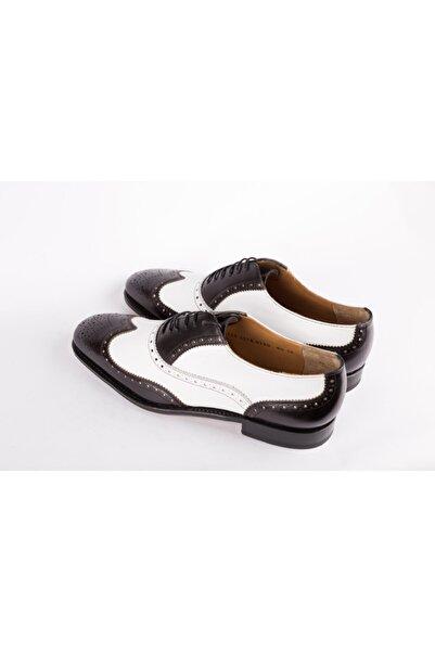 Salvatore Ferragamo Erkek Siyah Beyaz Deri Klasik Ayakkabı