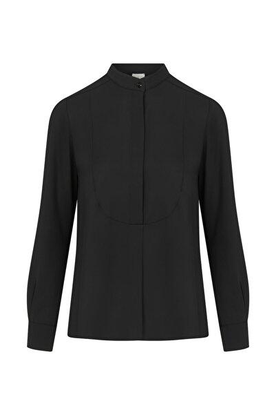 W Collection Kadın Siyah Hakim Yaka Bluz