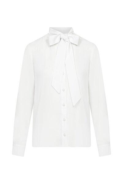 W Collection Kadın Ekru Fular Detaylı Bluz