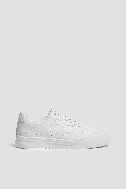 Pull & Bear Erkek Beyaz Tek Renk Spor Ayakkabı 12217640