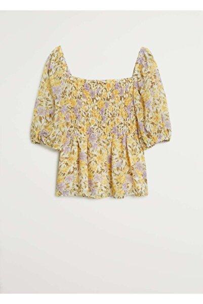 MANGO Woman Kadın Sarı Çiçek Desenli  Bluz