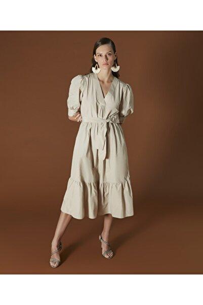 İpekyol Kadın Naturel Balon Kol Elbise