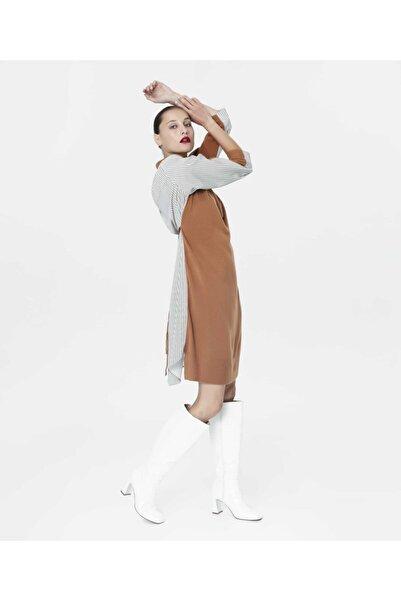 İpekyol Kadın Kamel Kumaş Mixli Triko Elbise