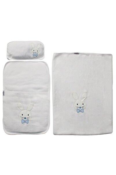 bebegen Mavi Papyonlu Tavşan Nakışlı Alt Açma + Battaniye Set