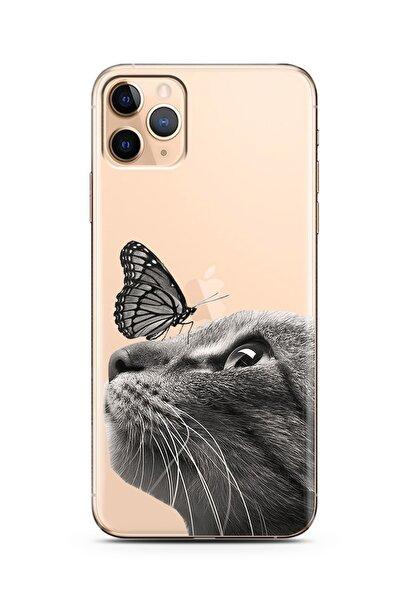 Spoyi Iphone 11 Pro Max Kedi Kelebek Tasarımlı Süper Şeffaf Silikon Telefon Kılıfı
