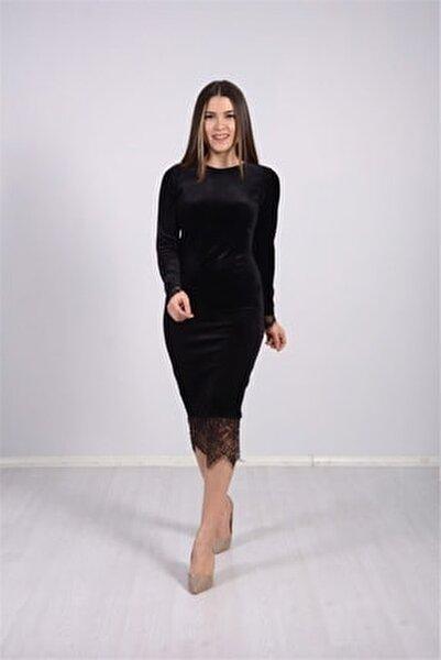 Kadın Siyah Kadife Kumaş Dantel Elbise