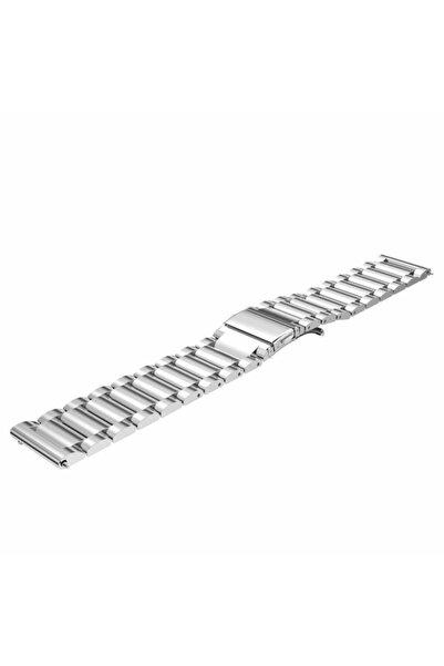 Techmaster Samsung Gear Watch 42 mm Gear Sport Active 2 40 44 mm Gümüş Metal Tme Kordon Kayış