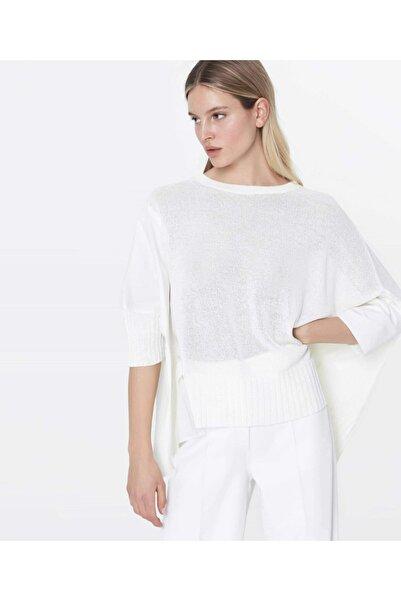 İpekyol Kadın Kırık Beyaz Kumaş Mixli Over Size Triko