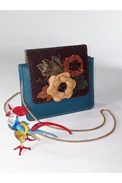 Didarart Kadın Mavi Çiçekli Çanta