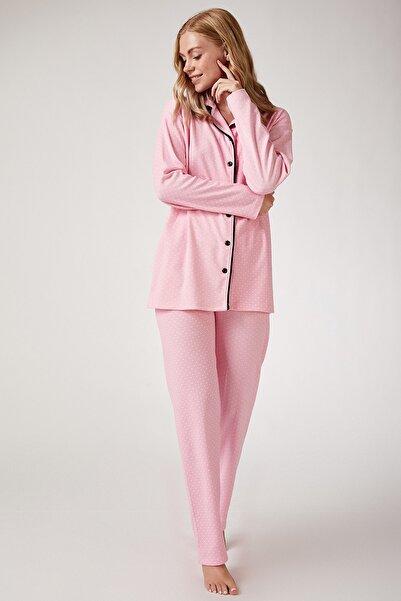 Happiness İst. Kadın Pembe Puantiyeli Örme Pijama Takımı GL00032