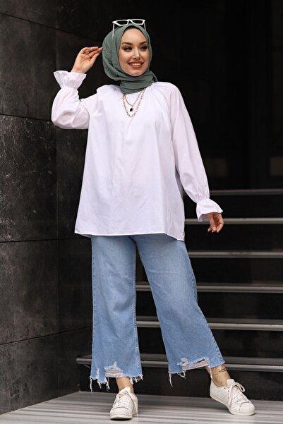 Moda Sahra Kadın Pamuklu Kolu Büzgülü Gömlek Beyaz