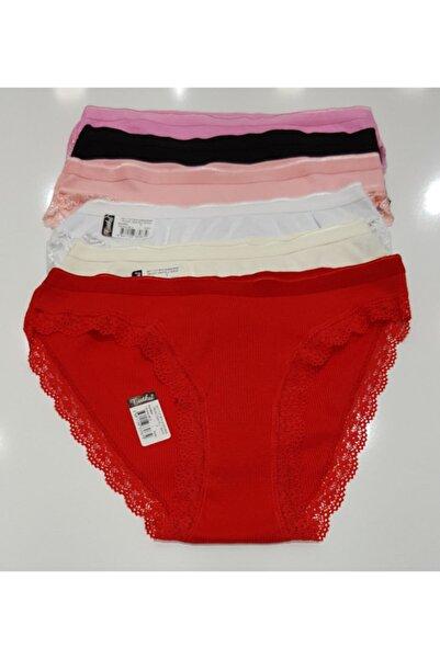 Tutku Kadın Kaşkorse Paçası Dantelli Bikini 6lı Paket Karışık Renklerde