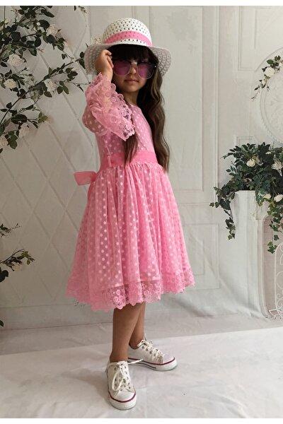 Mixie Kız Çoçuk Pembe Şapkalı Güpürlü Prenses Model  Elbisesi
