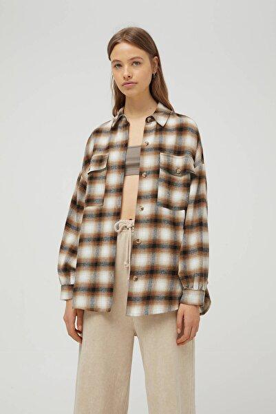 Pull & Bear Kadın Kahverengi Gömlek