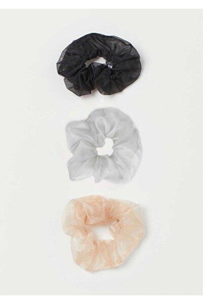 H&E DESIGN Kadın 3 ' Lü Organza Saç Lastik Toka Seti Tk0047