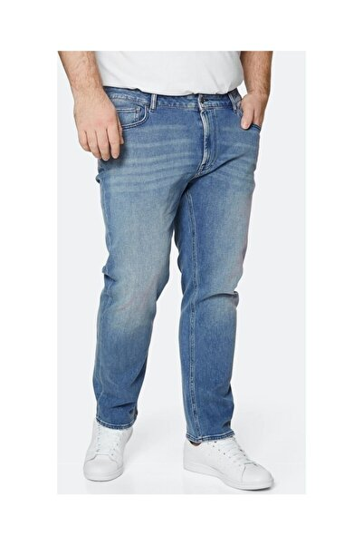 Dressmann Erkek Mavi Büyük Beden Düşük Belli Kot Pantolon