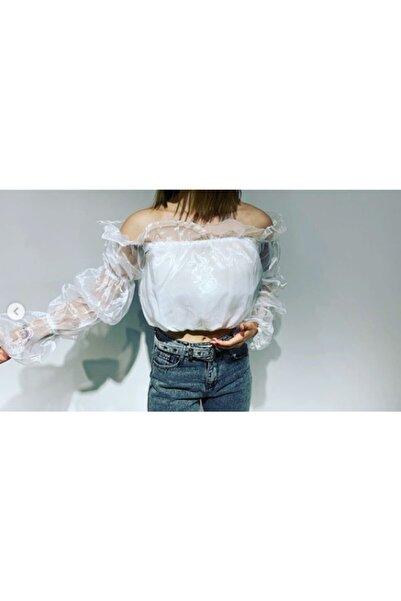 Jennyfer Kadın Beyaz Tüllü Bluz