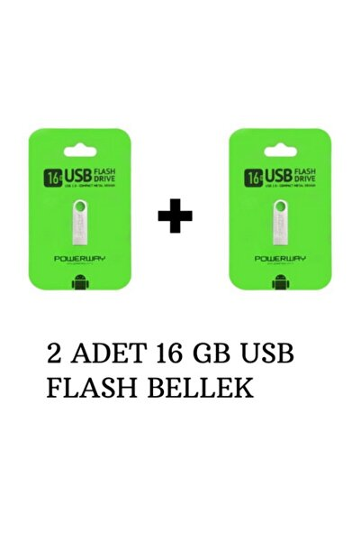 POWERWAY 2 Adet 16 Gb Metal Usb Flash Bellek