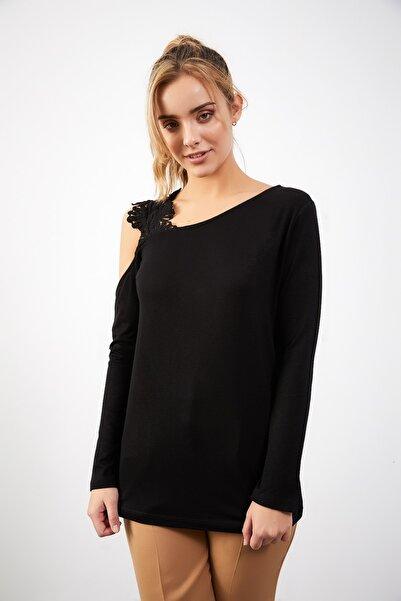 ELBİSENN Yeni Model Kadın Tek Omuz Dantel Detay Bluz