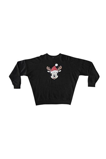 Mickey Mouse Unisex Siyah Yılbaşı Baskılı Sweatshirt