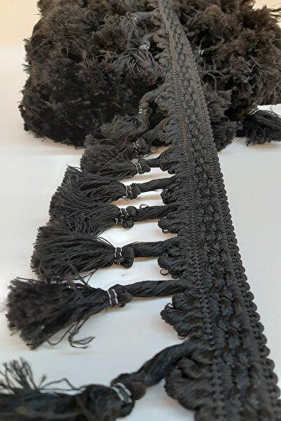 Hayalperest boncuk Siyah Topuzlu Saçak Püskül 7cm